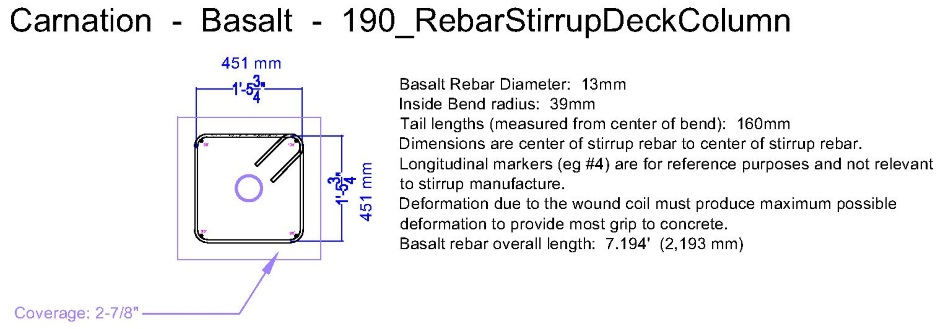 Basalt Rebar Design Carnation Standard Pieces