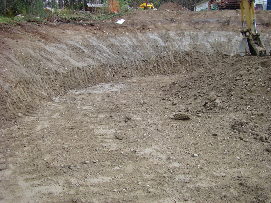 Excavation cut from hole