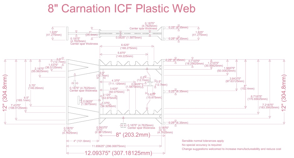 8in Carnation Icf Plastic Web