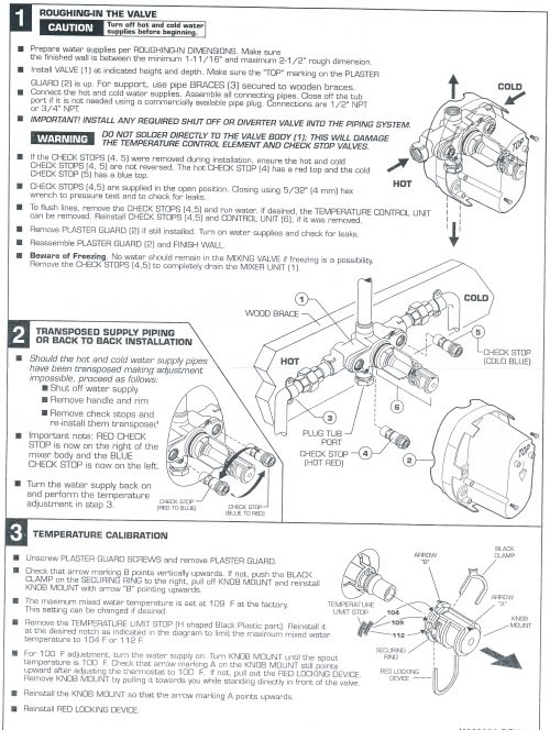 American Standard Thermostatic rough valve installation instructions