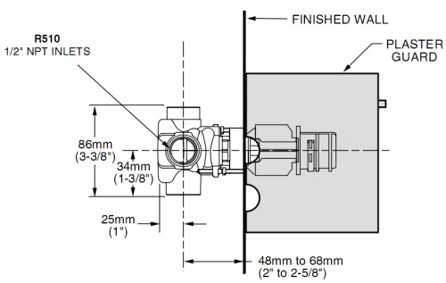 American Standard R510 Ceratherm dimensions