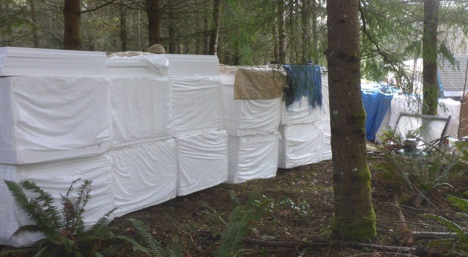 Polystyrene in forest