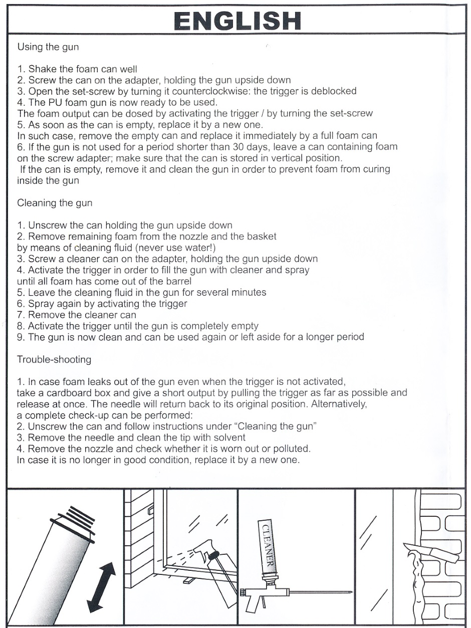 Foam gun instructions