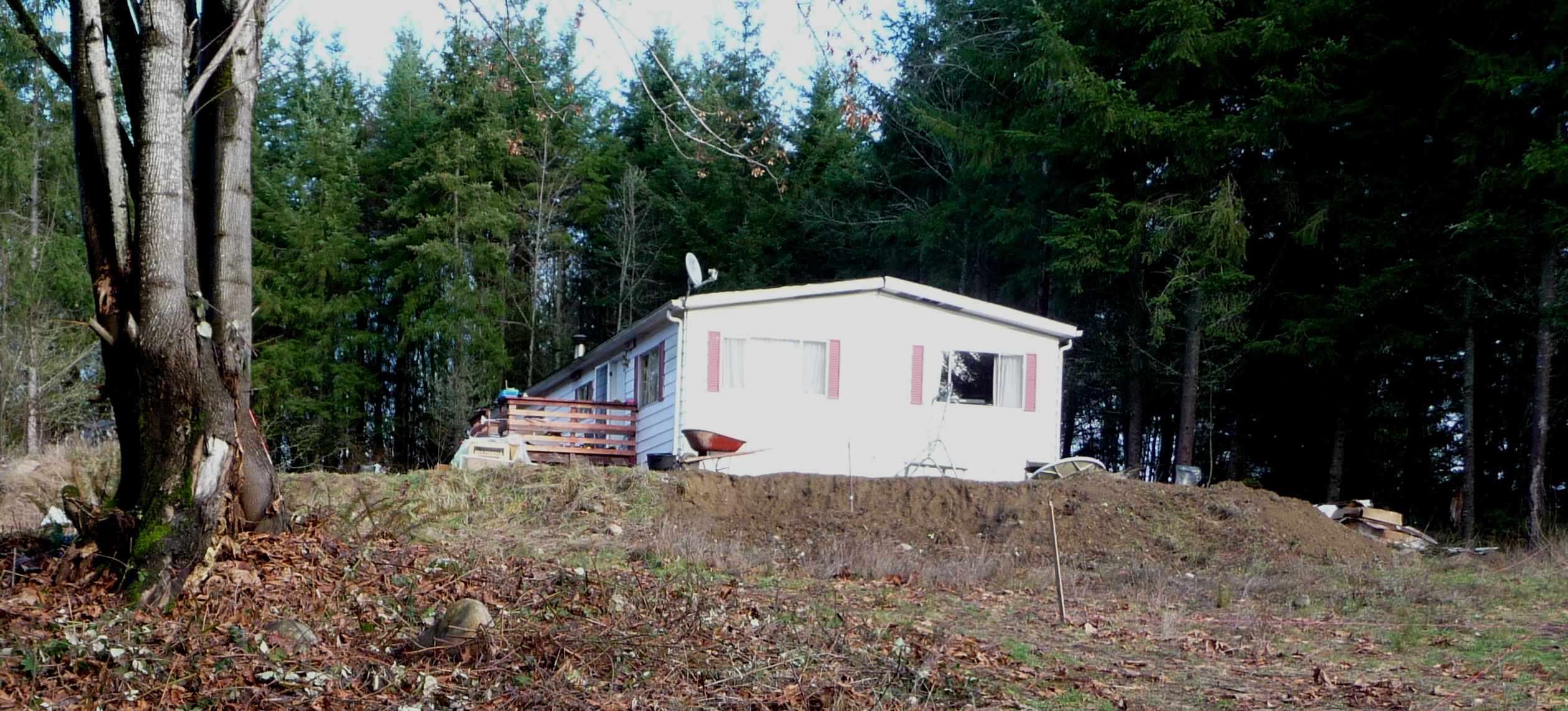 Manufactured home viewed from house site