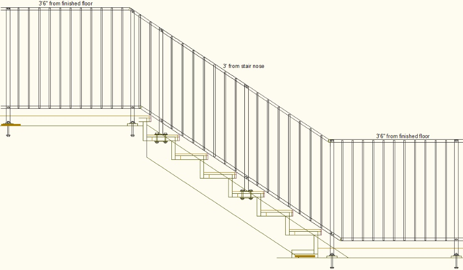 Railings On Stairs Drawing