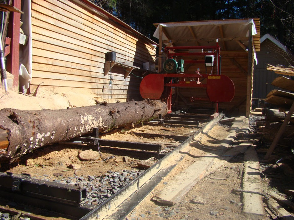Sawmill with log