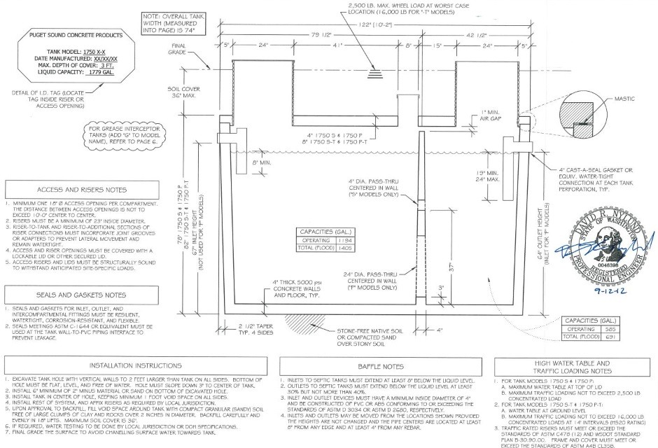 Sewage system drawing for Septic system design drawings
