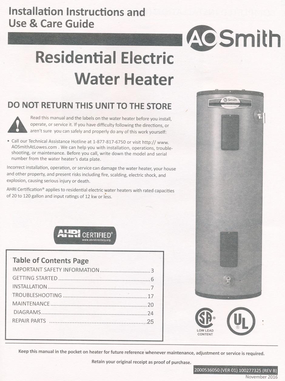 Heating Water Heater Large Ao Smith Wiring Diagram Aosmith Manual 01