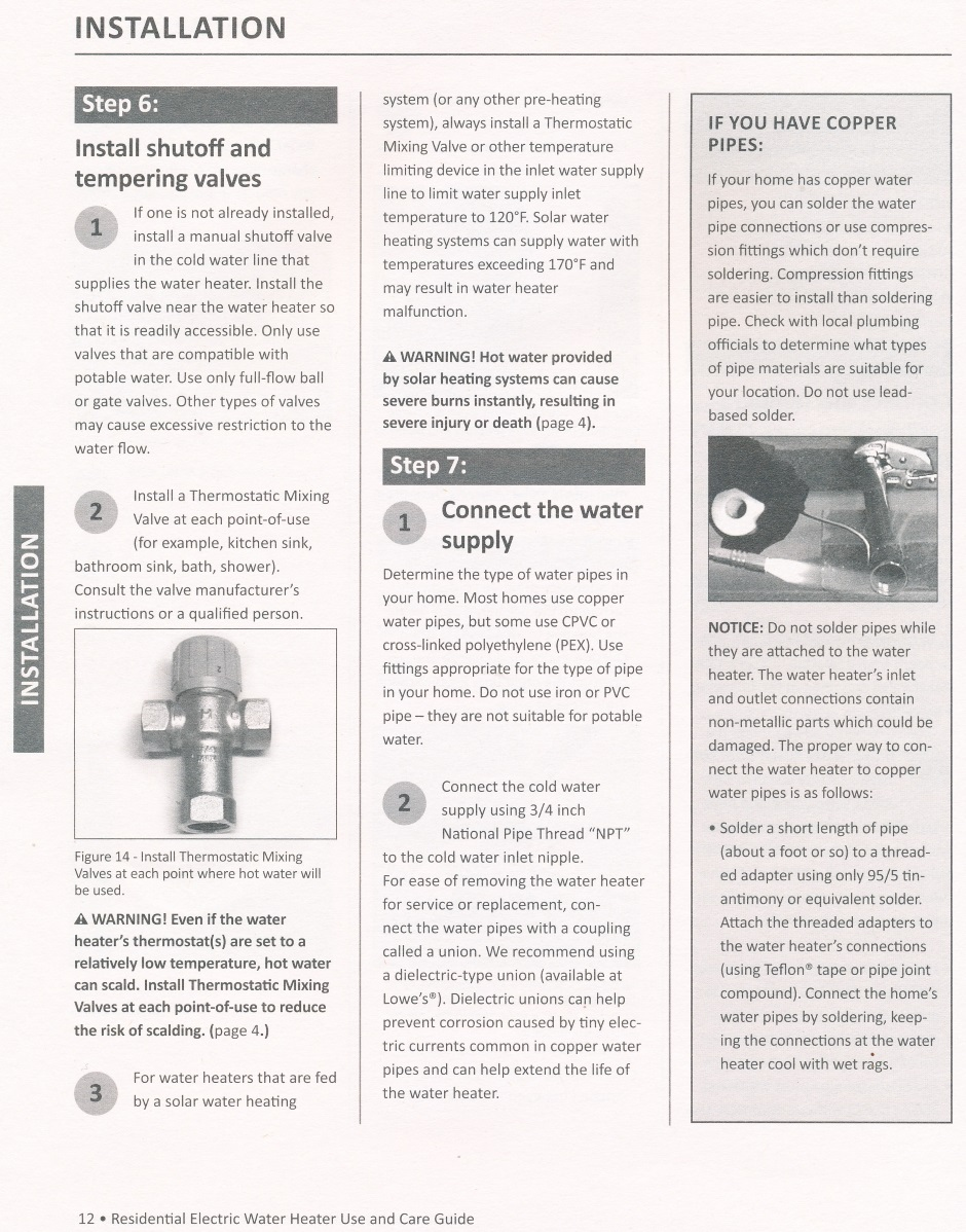 Heating Water Heater Large Electric Installation Instructions Aosmith Manual 12
